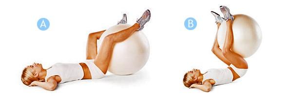 Упражнение на фитболе: Скручивания с мячом Источник: http://dietamask.ru/?p=1139&preview=true